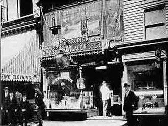 Steve Brodie (bridge jumper) - Steve Brodie's bar on the Bowery circa 1886