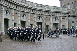 Military step - Stockholm Palace guards double time marching