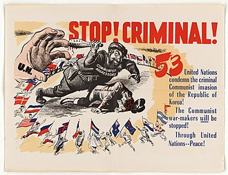 United Nations General Assembly Resolution 498 - Poster of the time (produced by the American government) allusive to the resolution. In this poster, the number of countries that condemned red China is 53, when the right number is 44.