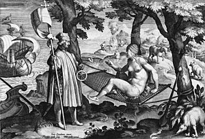 New World - Allegory of the New World: Amerigo Vespucci awakens the sleeping America