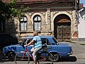 Street Scene with Lada and Cyclist - Berehove - Ukraine (35862926423) (2).jpg