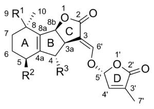 Chemical structure of (+)-strigol, a strigolactone