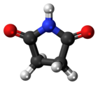 Ball-and-stick model of the succinimide molecule