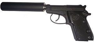 Beretta 21A Bobcat - Image: Suppressed Beretta 21a