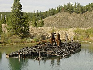 Gold mining in Colorado - Remains of the Swan River gold dredge, 2007.