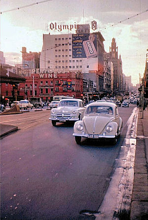 Swanston Street, Melbourne - Swanston Street, looking north from Princes Bridge, 1959.