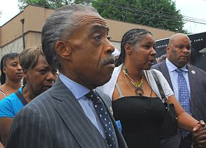 Death of Eric Garner - Al Sharpton and Garner's widow, Esaw Garner (right), at a protest in Staten Island on July 19, 2014