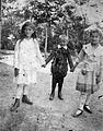 Tableau, kid, girls, boy, garden, summer, ribbon Fortepan 22865.jpg