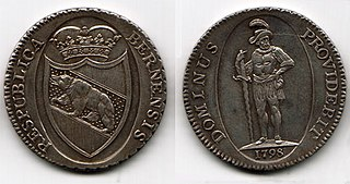 Berne thaler currency of the Swiss canton of Bern until 1798