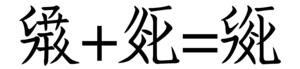 "Tangut script - The Tangut character ""mud"" is made with part of the character ""water"" (far left) and the whole of the character ""soil"""