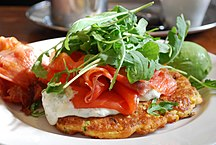 Tasmania-Economy-Tasmanian salmon on a pea and corn fritter