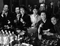 Tatsuo Nagai, Ryōichi Hattori, Kiyoko Tange, Yoshie Mizutani, Minoru Nakano, Yaeko Mizutani I and Takiko Mizunoe 1955.jpg