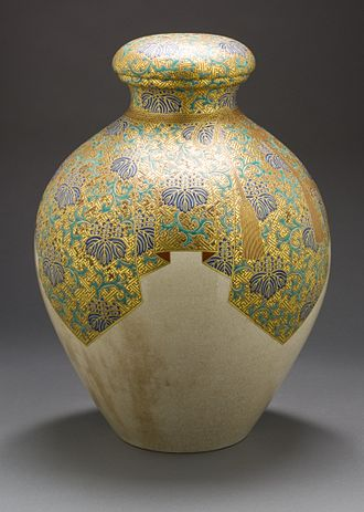 Satsuma Province - Satsuma earthenware tea storage jar (chatsubo) with paulownia and thunder pattern, late Edo period, circa 1800-1850