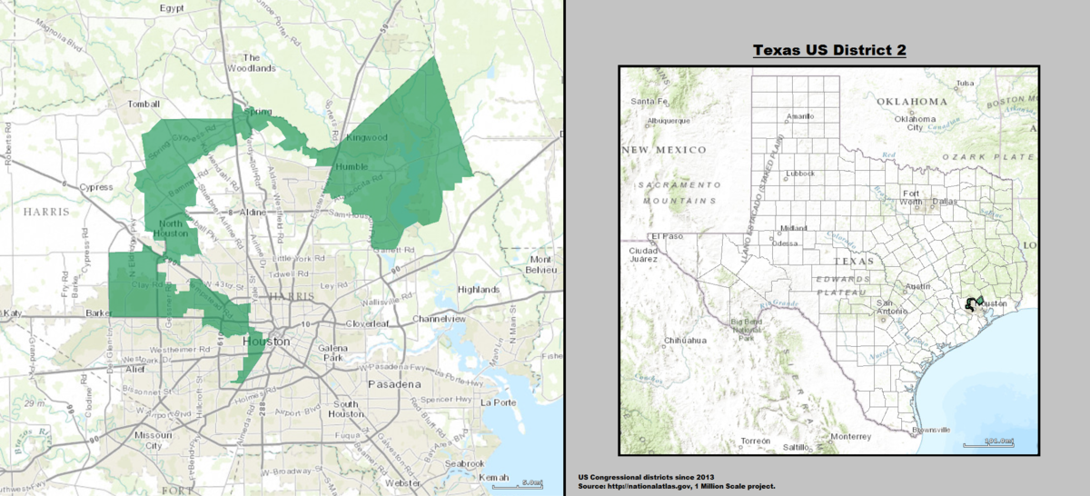 Map Of Texas Us.Texas S 2nd Congressional District Wikipedia