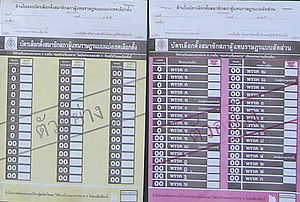 Elections in Thailand - Example ballot paper on show at voting booth, 2007