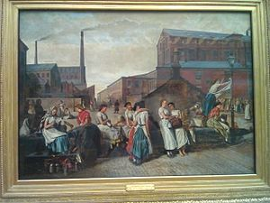 Eyre Crowe (painter) - Lancashire mill girls in 1874 relaxing at lunchtime.