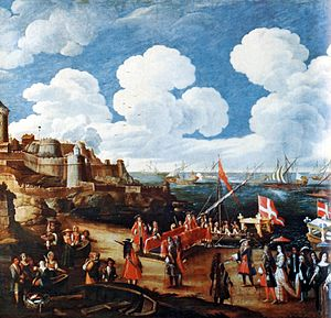 Kingdom of Sicily under Savoy - Victor Amadeus and his wife departing Nice with a British naval squadron for Palermo to be crowned King and Queen of Sicily.