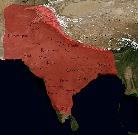 Mughal Empire at its greatest extent, in the late 17th and early 18th centuries. The Mughal Empire.jpg