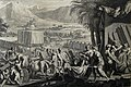The Phillip Medhurst Picture Torah 498. Moses finishes building the tabernacle. Exodus cap 40 v 33. Mortier.jpg
