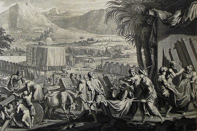 File:The Phillip Medhurst Picture Torah 498. Moses finishes building the tabernacle. Exodus cap 40 v 33. Mortier.jpg