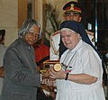 The President, Dr. A.P.J. Abdul Kalam presenting Padma Shri to Sister M Cyril Mooney (Teacher Cum Social Worker), at an Investiture Ceremony at Rashtrapati Bhavan in New Delhi on March 23, 2007.jpg