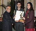 The President, Shri Pranab Mukherjee presenting the Arjuna Award for the year-2012 to Ms. Deepika Pallikal for Squash, in a glittering ceremony, at Rashtrapati Bhavan, in New Delhi on August 29, 2012.jpg