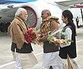 The Prime Minister, Shri Narendra Modi being welcomed on his arrival at Varanasi, Uttar Pradesh on January 22, 2016.jpg