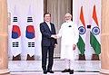 The Prime Minister, Shri Narendra Modi meeting the President of the Republic of South Korea, Mr. Moon Jae-in, at Hyderabad House, in New Delhi on July 10, 2018 (1).JPG
