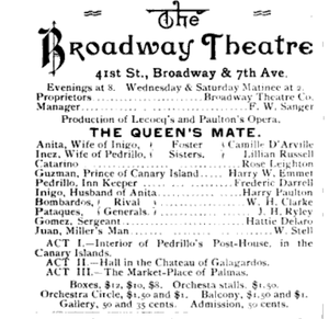 Camille D'Arville - The Queens Mate, Broadway Theatre, The Theatre (1888), showing Camille D'Arville in the cast as the sister of Lillian Russell
