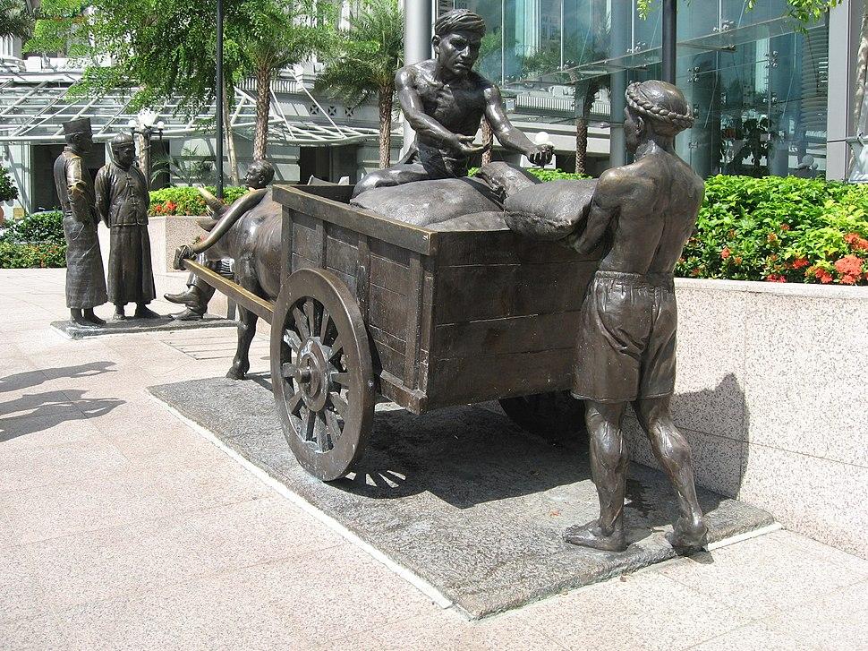 The River Merchants (2003) by Aw Tee Hong, Cavenagh Bridge, Singapore - 20060530
