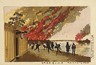 Kobayashi Kiyochika - Image: The Ryogoku Fire Sketched from Hamacho on the 26th of January, 1881 LACMA M.71.100.49