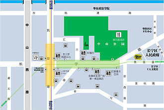 Zhongshan Park (Shanghai) - Map of Zhongshan Park (marked in green) and the surrounding area.