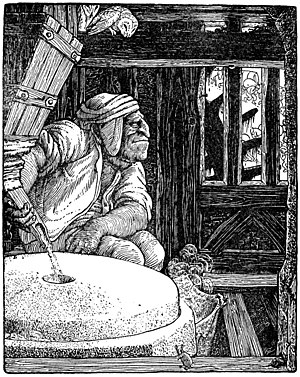 "Máel Dúin - ""The mill of Grudging"". Illustration by John D. Batten, in Joseph Jacobs' The Book of Wonder Voyages"