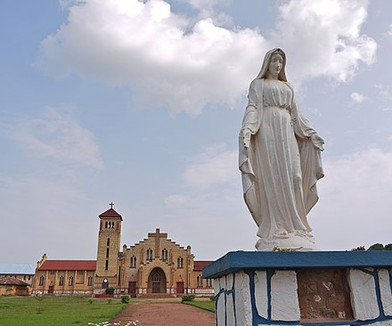 The Cathedral of Our Lady of Wisdom at Butare (formally Astrida) in Ruanda. Catholicism expanded rapidly under the Belgian mandate. The christian church in Huye.jpg