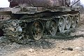 The end result from the blast of C-4 plastic explosive caused excessive damage to the row wheels that had been placed in the turret of the T55 Russian tank, by the Explosive Ordnanc - DPLA - 77f2c1604c7b4e01fe7bc280247d826a.jpeg