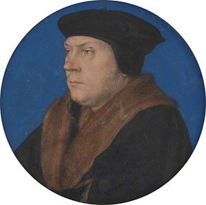 Portrait of Thomas Cromwell - This portrait miniature is derived from the 1532 portrait of Cromwell but shows him looking older. A similar miniature, without the Garter collar, survives and is attributed to Holbein by the National Portrait Gallery, but most scholars do not consider it an original Holbein