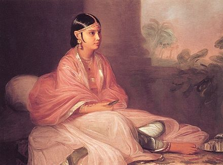 A woman wearing jamdani in 1787. Bengal has manufactured textiles for many centuries, as recorded in ancient hand-written and printed documents Thomas Hickey - 'An Indian Lady (Indian bibi Jemdanee)'.jpg