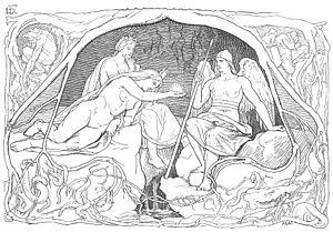 Urðarbrunnr - Three norns at Urðarbrunnr (1895) by Lorenz Frølich.