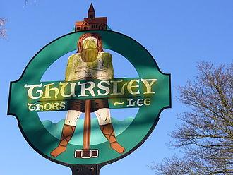 Godalming Hundred - Thursley village sign showing the pagan god Thunor