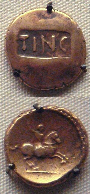 Tincomarus - Stater of Tincomarus, king of the Atrebates.