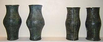 Jet (lignite) - Hallstatt culture bracelets made from jet and bronze, unearthed at Magdalenenberg