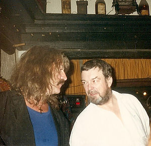 Jon Lord - Tony Ashton (right) with Lord at a gig at the Hotel Post, March 1990