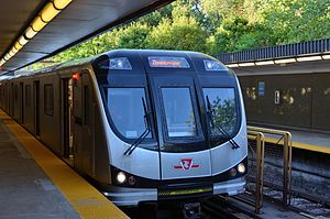 Toronto Transit Commission - New Toronto Rocket subway train at Davisville station