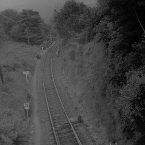 Torrington railway station - Image: Torrington station approach , South Devon, 1969