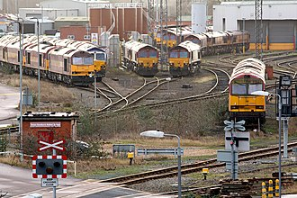 Toton TMD - Toton TMD, showing British Rail Class 60 and British Rail Class 66 on shed