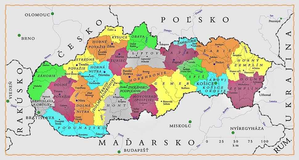 Tourism regions of Slovakia sk- pastel version