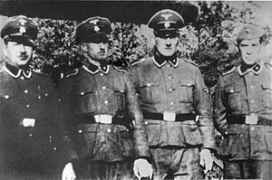 Josef Hirtreiter - Treblinka staff: (left to right): Paul Bredow, Willi Mentz, Max Möller, and Hirtreiter