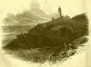"Henry Norris (engineer) - The newly built Trevose Head lighthouse, Cornwall, England from ""The Illustrated London News"" 1847"