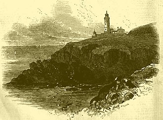 """Henry Norris (engineer) - The newly built Trevose Head lighthouse, Cornwall, England from """"The Illustrated London News"""" 1847"""