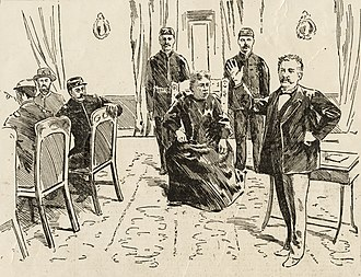 Republic of Hawaii - Newspaper illustration of Liliuokalani's public trial by a military tribunal in 1895 in the former throne room of the Iolani Palace.